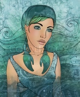 Illustration of cancer astrological sign as a beautiful girl
